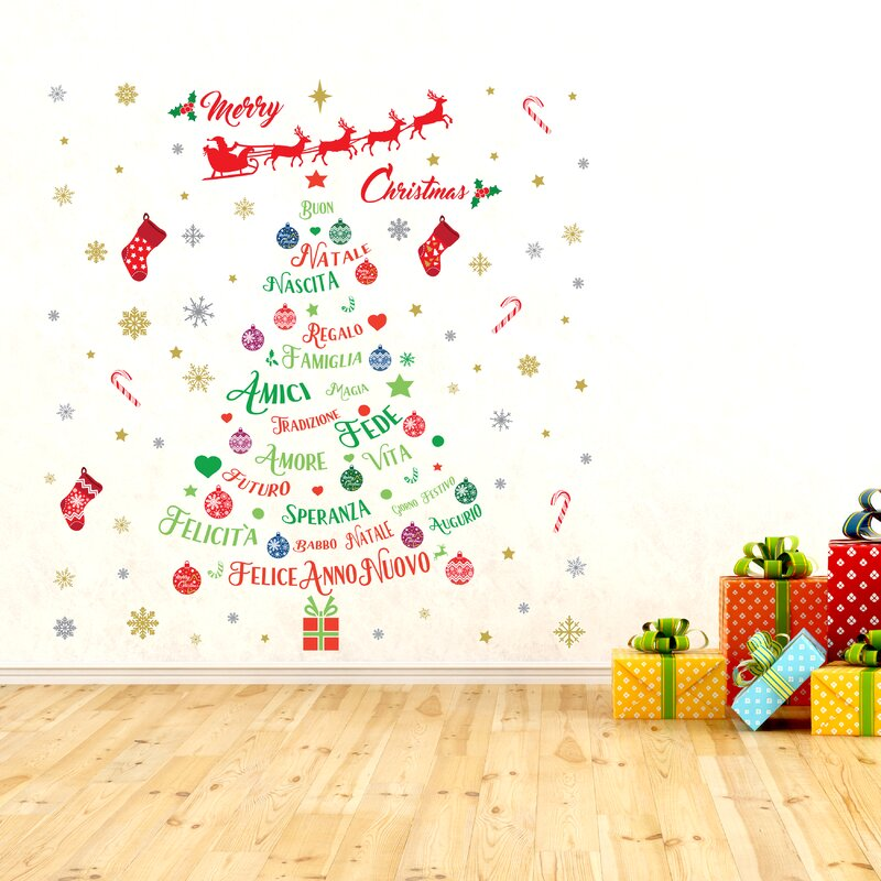 italian quotes christmas decoration wall sticker set