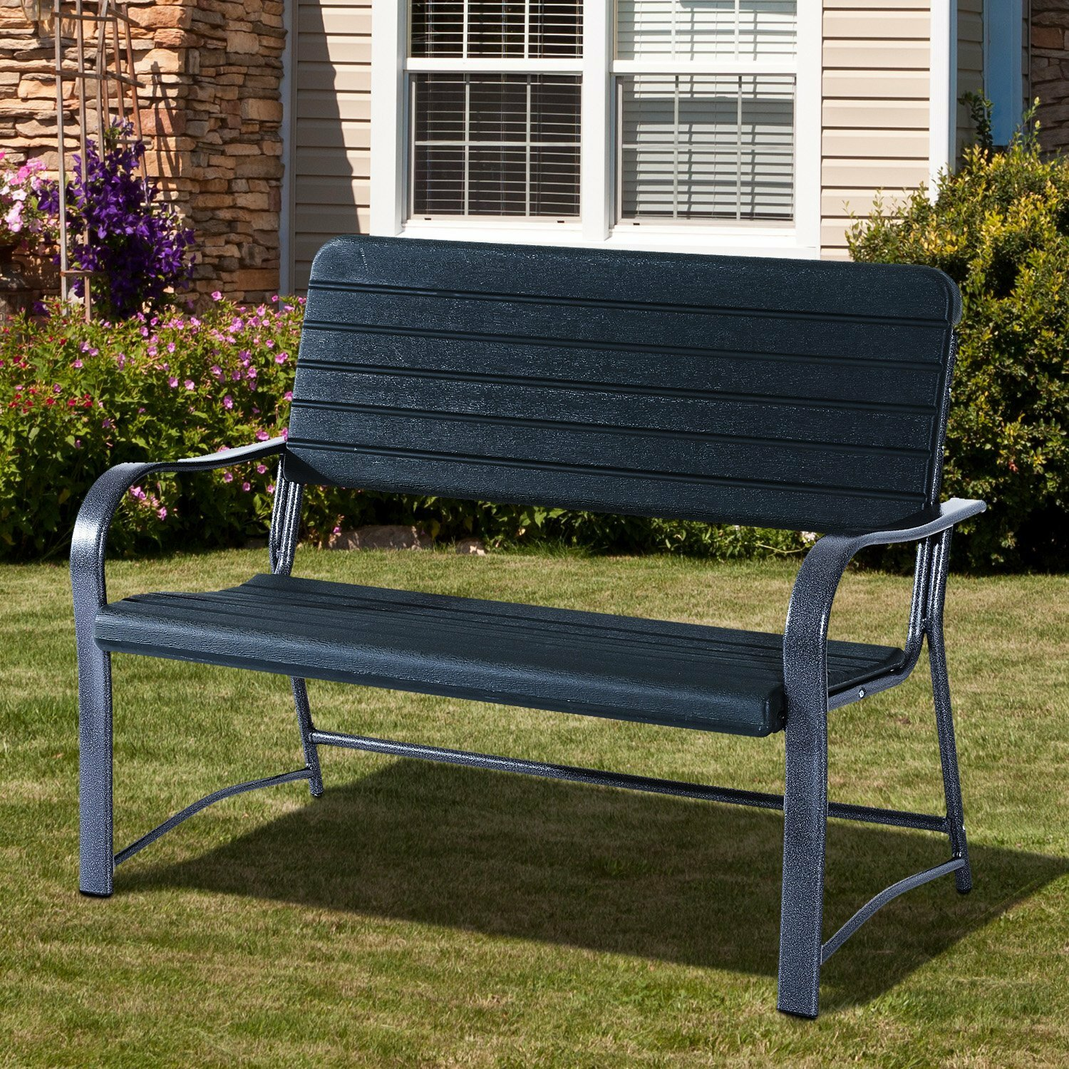 patio metal w l shop com pl steel outdoors treasures red lowes bench garden in outdoor x at benches furniture