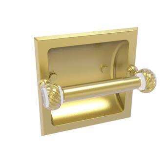 Allied Brass CV-24CD-UNL Clearview Collection Recessed Toilet Paper Holder with Dotted Accents Unlacquered Brass