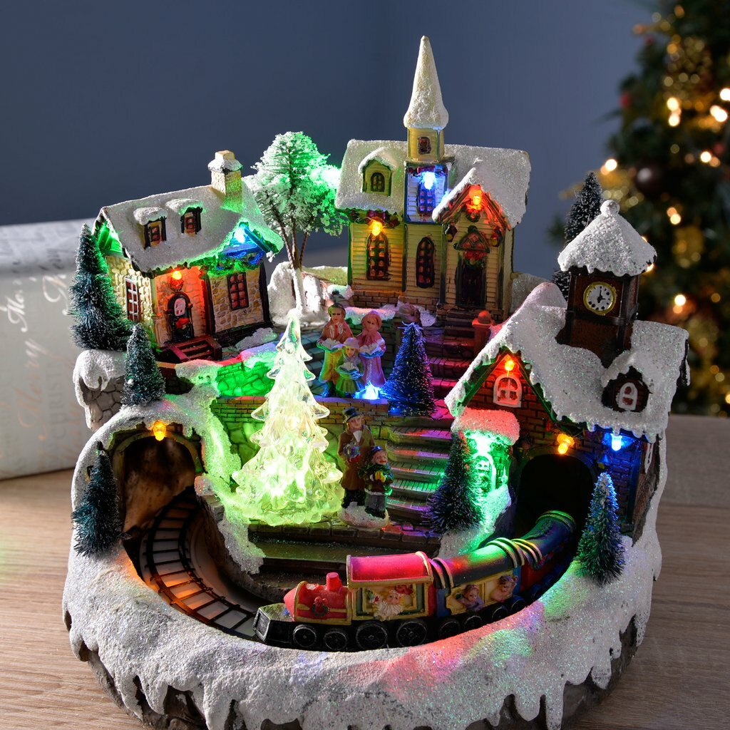 The Seasonal Aisle Pre-Lit LED Musical Animated Christmas Village ...
