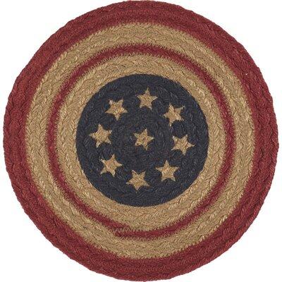 August Grove Ohta Americana Seasonal Tabletop & Kitchen Flag Jute Coaster