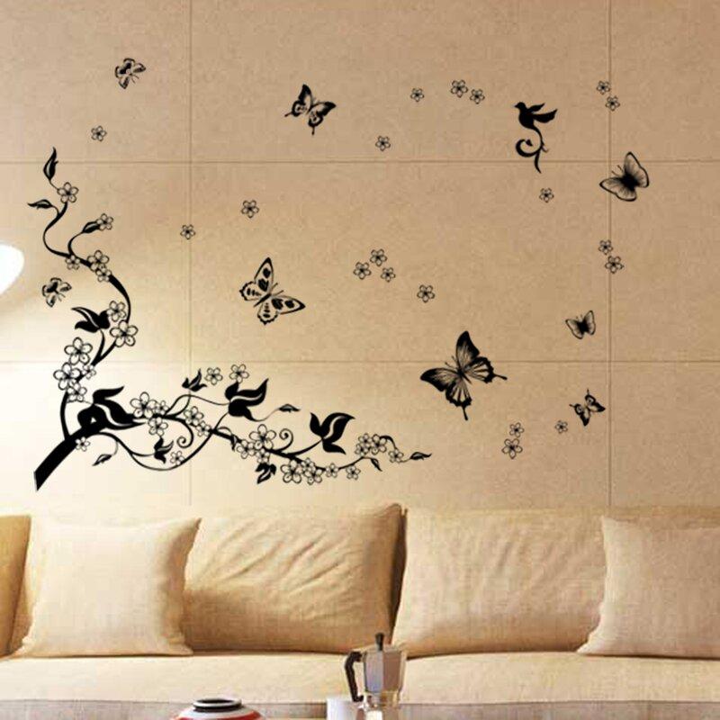 Walplus Butterflies Vine Wall Decal | Wayfair