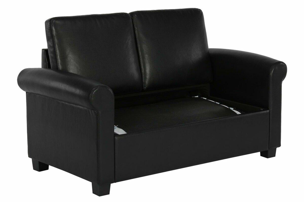 Ebern Designs Ahumada Twin Sleeper Sofa Bed Loveseat Reviews  ~ Leather Twin Sofa Sleeper