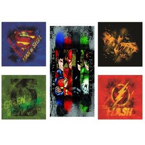 Justice League 5 Piece Graphic Art on Canvas Set