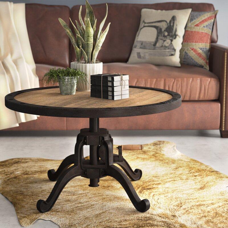 newark reclaimed wood adjustable height crank industrial coffee table