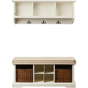 douglas wood storage bench u0026 shelf set