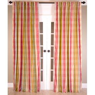 Angoy Pure Silk Plaid And Check Room Darkening Rod Pocket Single Curtain Panel