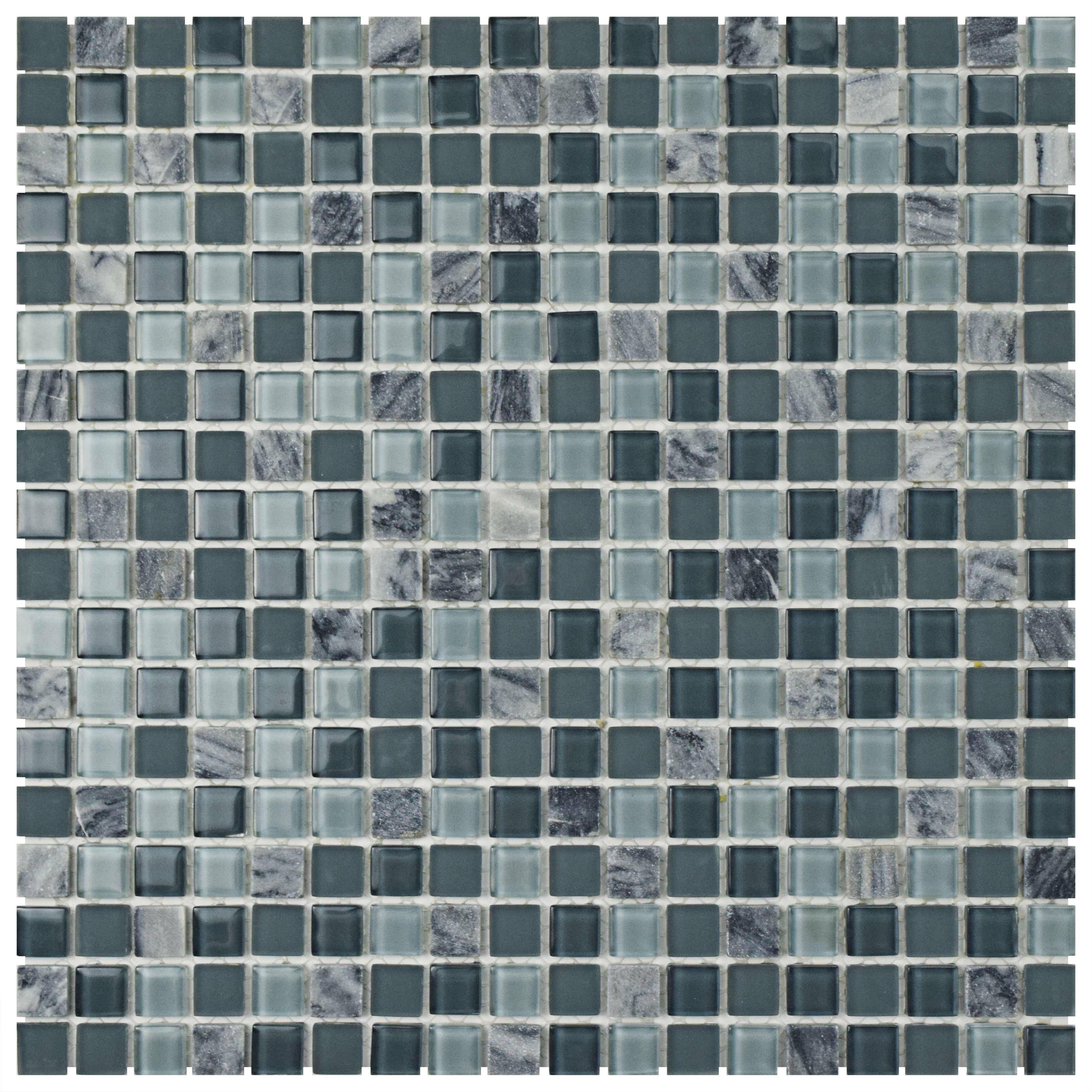 EliteTile Ambit Glass/Natural Stone Mosaic Tile in Fortress | Wayfair
