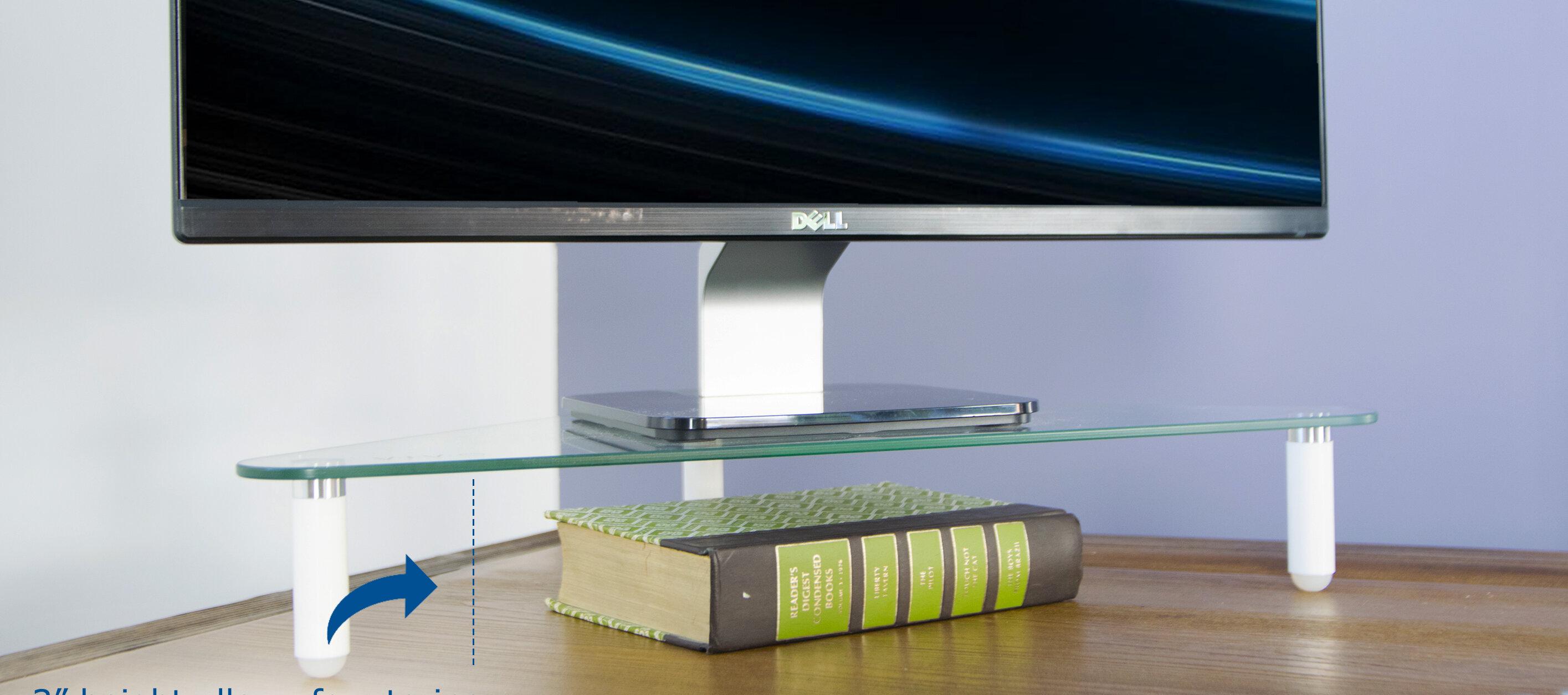 VIvo Glass Tabletop Riser Triangle Corner Desktop Stand U0026 Reviews | Wayfair