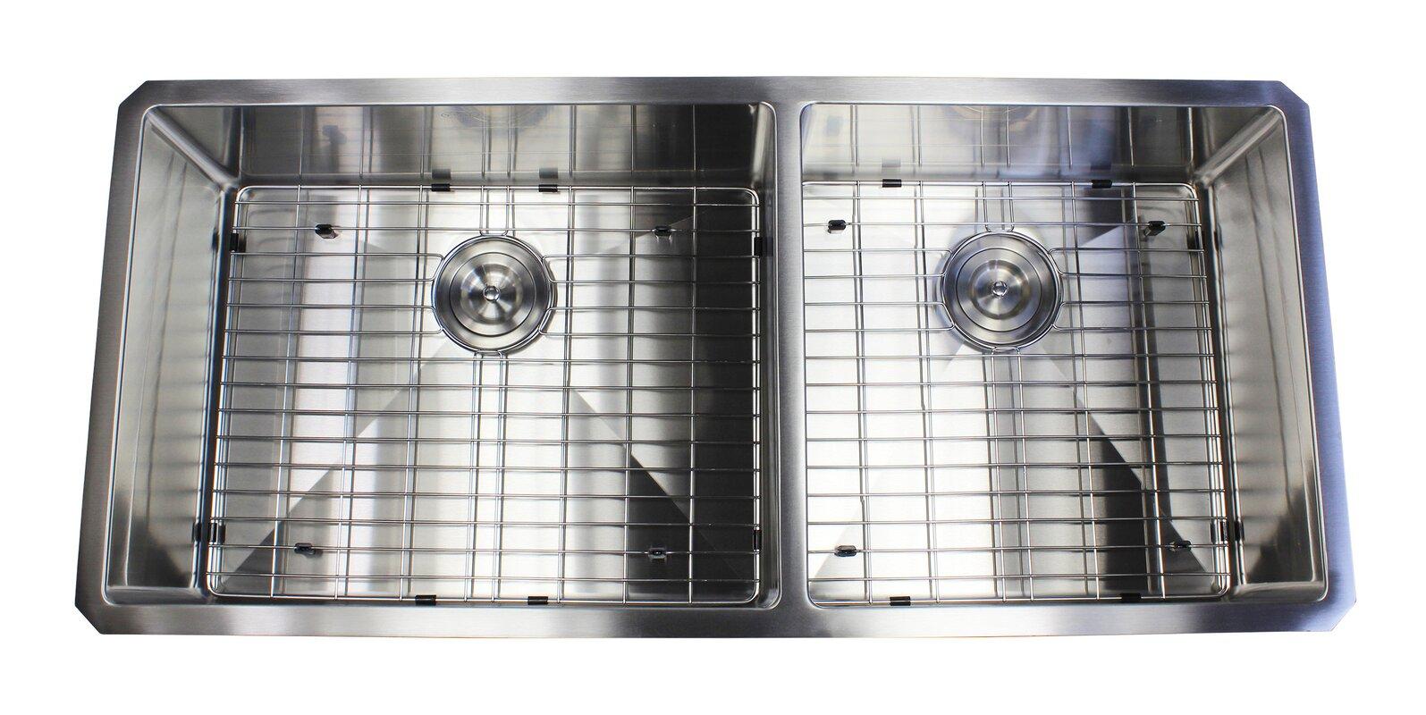 Drain Kitchen Sink Ariel premium stainless steel 42 x 19 double basin undermount ariel premium stainless steel 42 x 19 double basin undermount kitchen sink with sink workwithnaturefo