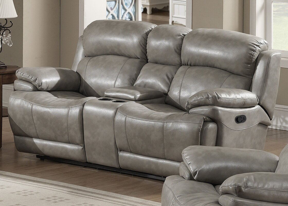 products power furniture w austere at reclining console gray open loveseat mjm