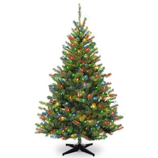 6 green spruce trees artificial christmas tree with 400 incandescent multi colored lights