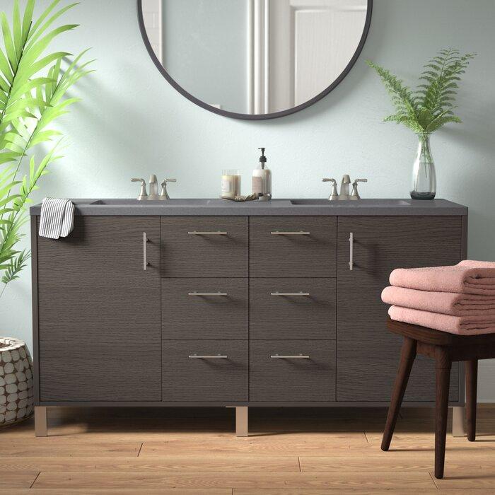 """Orren Ellis Cordie Modern 60"""" Double Silver Oak Bathroom Vanity Set   Wayfair.ca"""