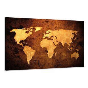 Framed world map wayfair world map graphic art print on canvas by urban designs gumiabroncs Gallery