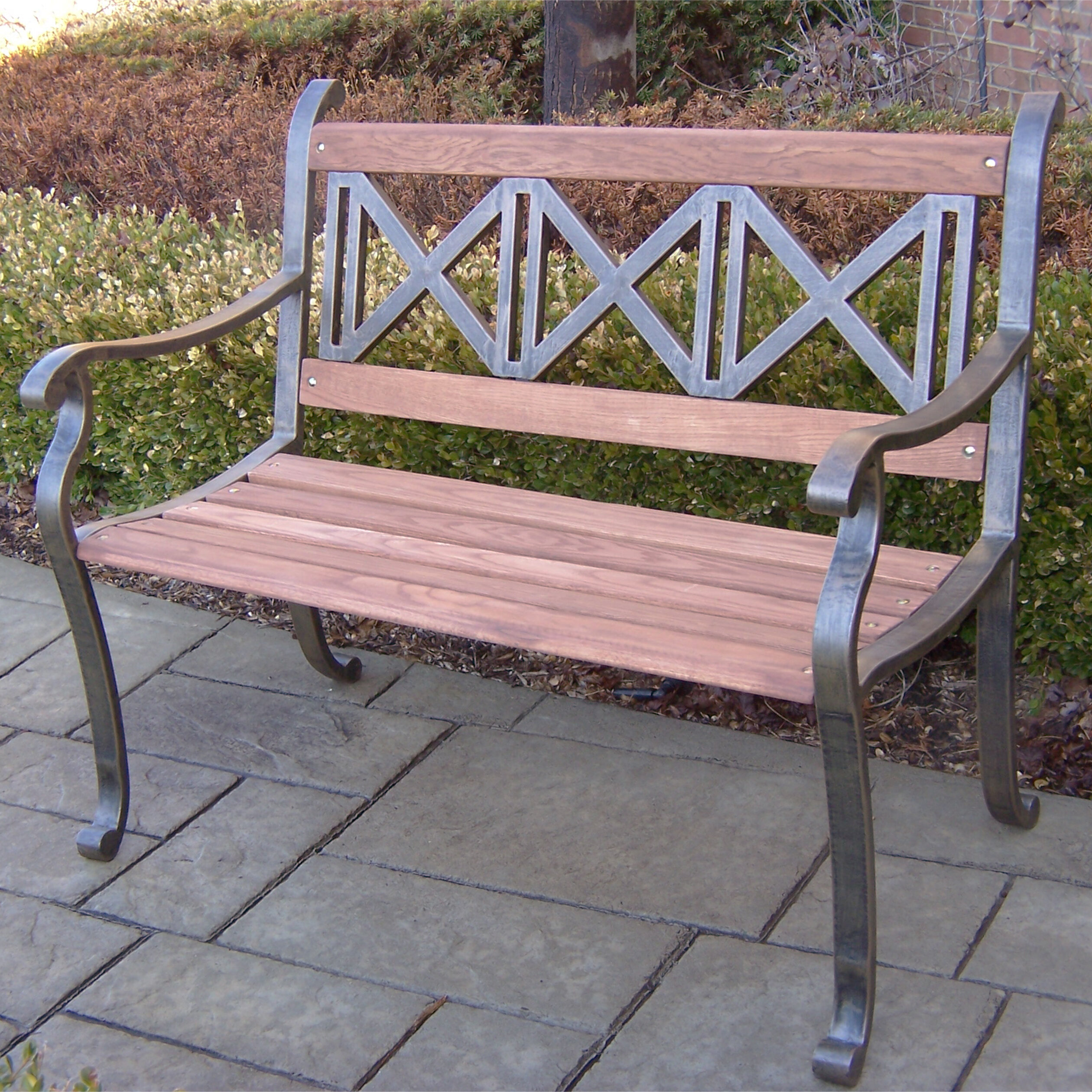 Oakland Living Triple Cross Wood And Metal Park Bench Reviews