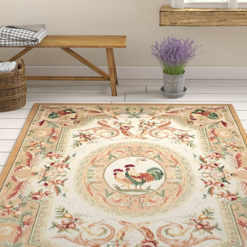 August Grove Kinchen Hand-Hooked Wool Taupe/Red/Green/Orange Area Rug, Size: Rectangle 79 x 99