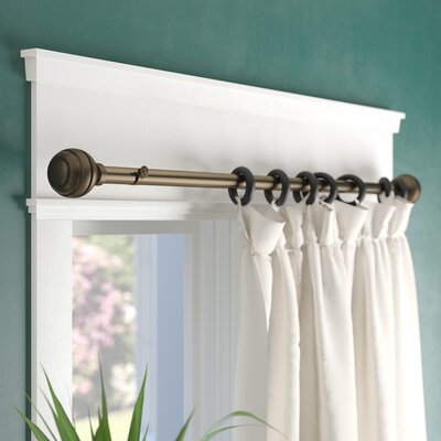 Alcott Hill Tang Curtain Single Rod Color: Antique Brass, Length: 48 - 84
