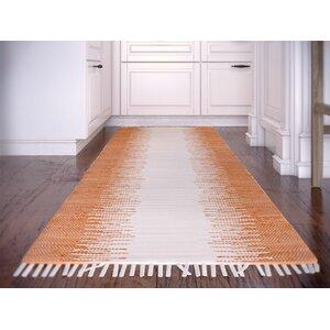 Anchor Hand-Woven Cotton Orange/White Area Rug