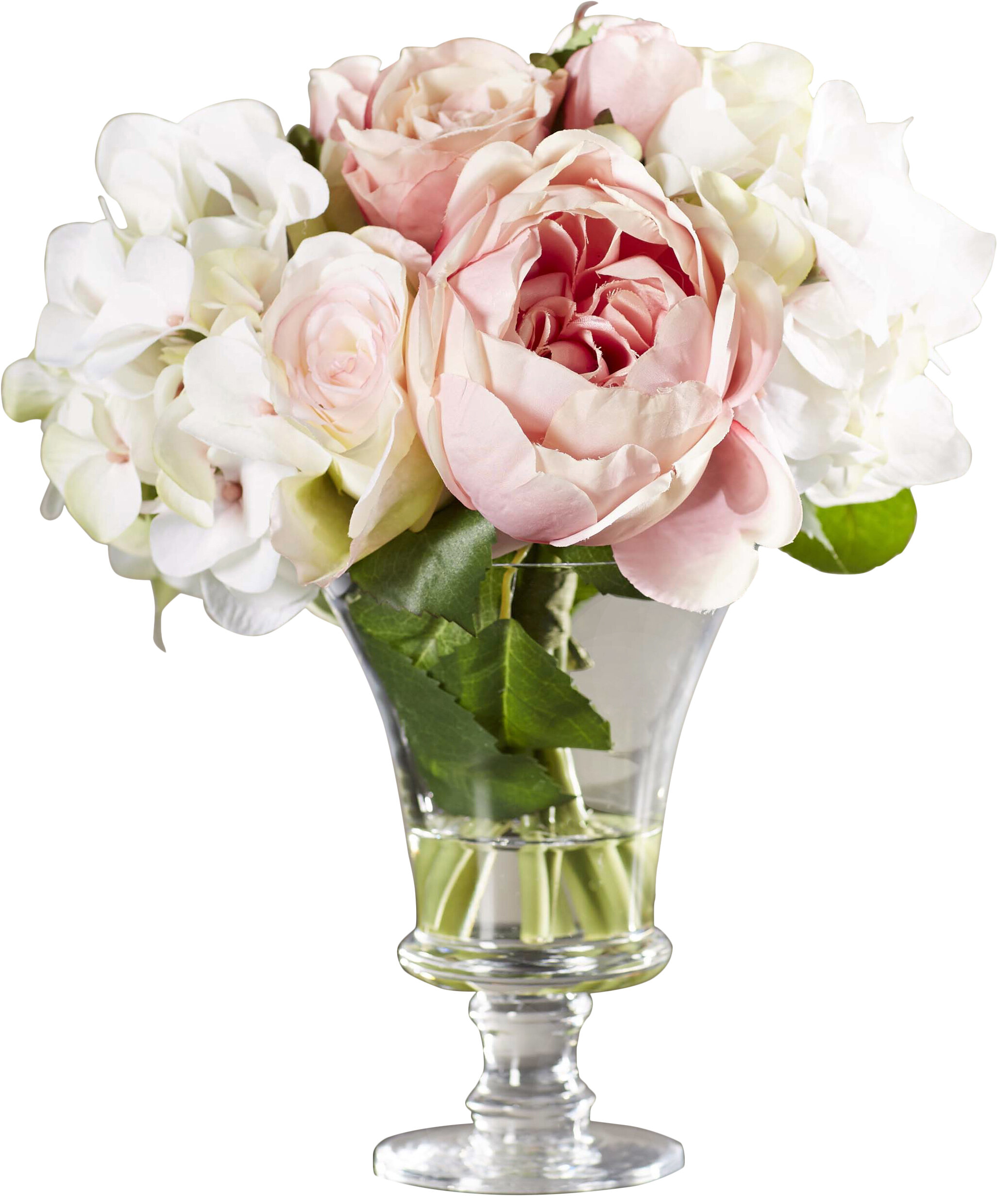 Faux mixed rose hydrangea arrangement in glass pedestal vase faux mixed rose hydrangea arrangement in glass pedestal vase reviews joss main reviewsmspy
