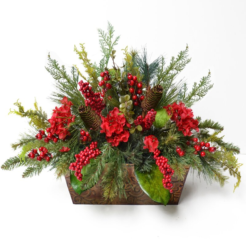 Floral home decor pine and berry christmas floral for Floral decorations for home