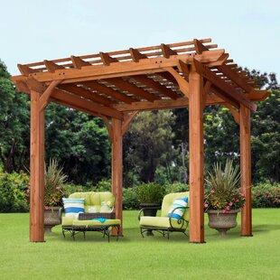 Cedar 10 Ft. W X 10 Ft. D Solid Wood Pergola