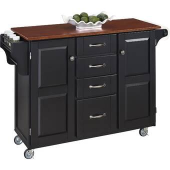 Kuhnhenn Kitchen Cart With Wood Top Reviews Joss Main