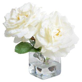 Faux white flowers in vase wayfair faux rose flower in vase mightylinksfo
