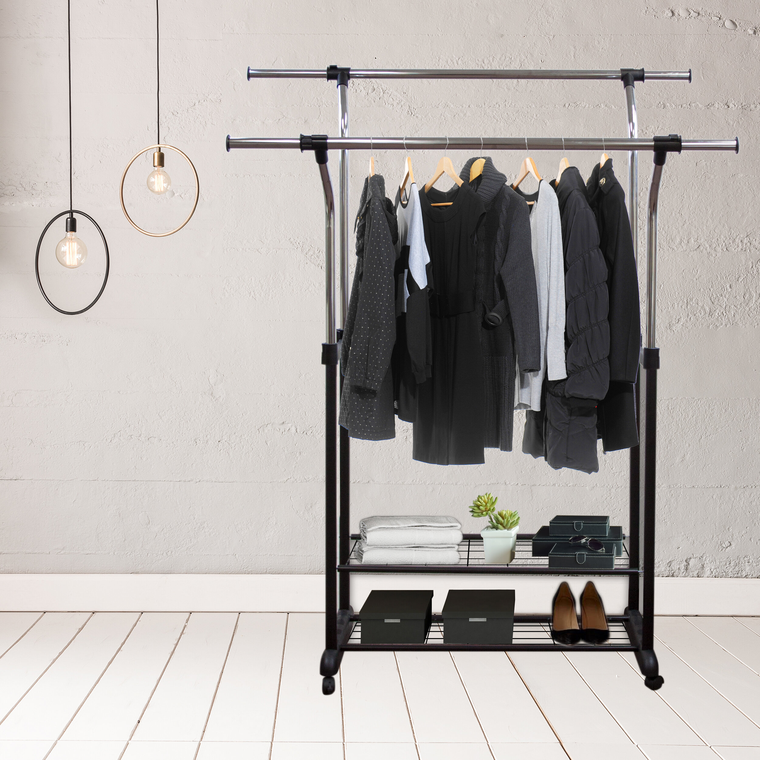 Rod Desyne Mobile 60 W Double Rail Clothes Rack With Utility Shelves Wayfair
