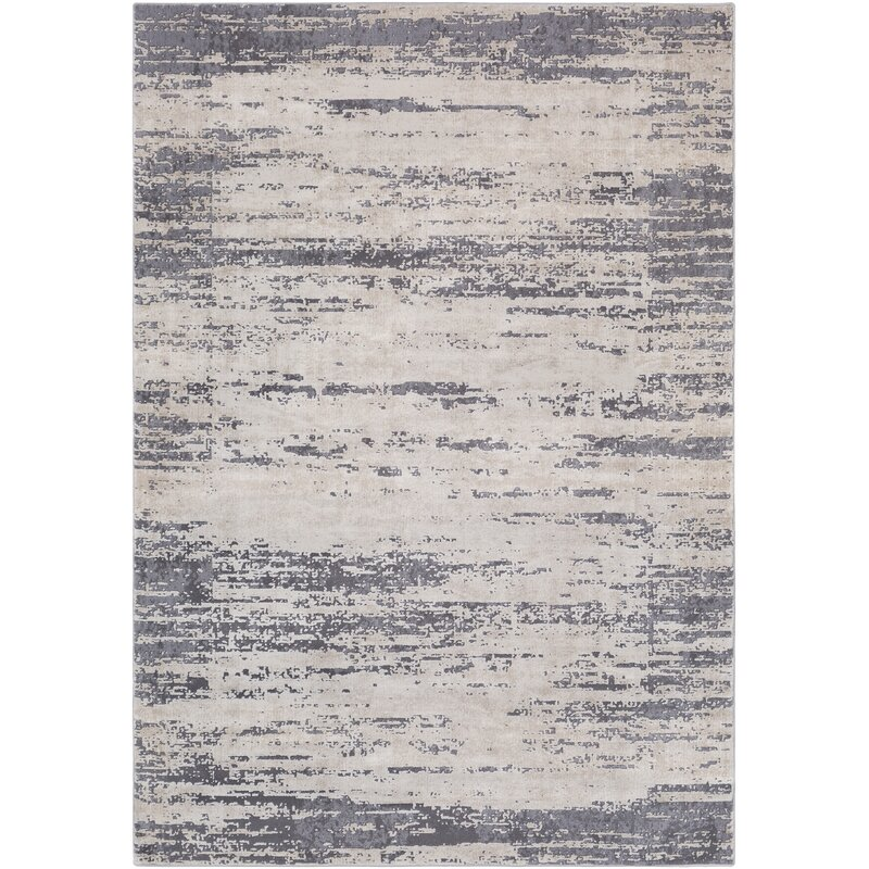 Greyleigh Bridgeton Distressed Modern Gray Cream Abstract