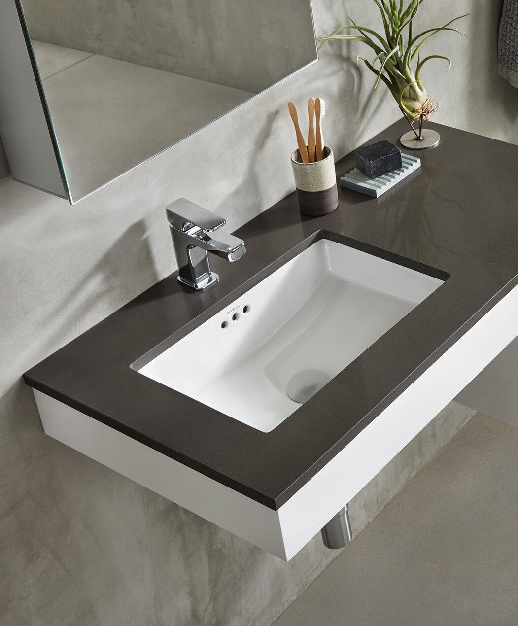 Ronbow essence ceramic rectangular undermount bathroom sink with overflow reviews wayfair