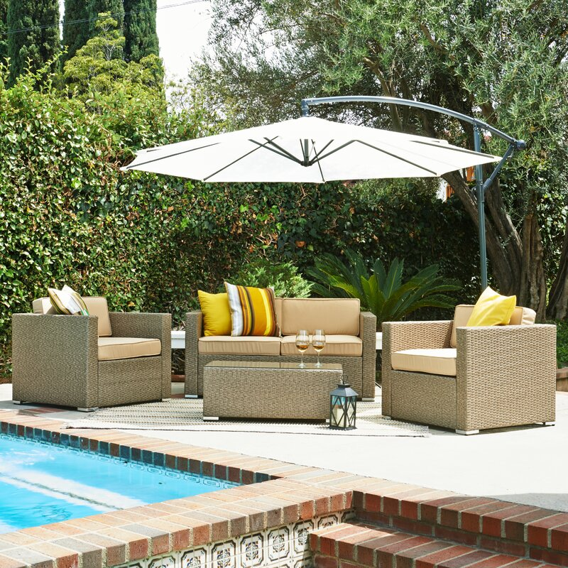 Beachcrest Home Garvey 5 Piece Deep Seating Group With Cushions
