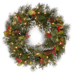pine pre lit 24 wreath with 50 battery operated white led lights