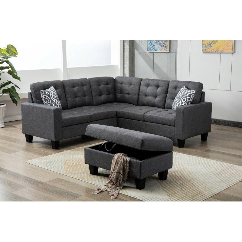 Butcher Symmetrical Sectional Sofa With Ottoman