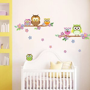 Owl Flower Tree Wall Decal Part 97