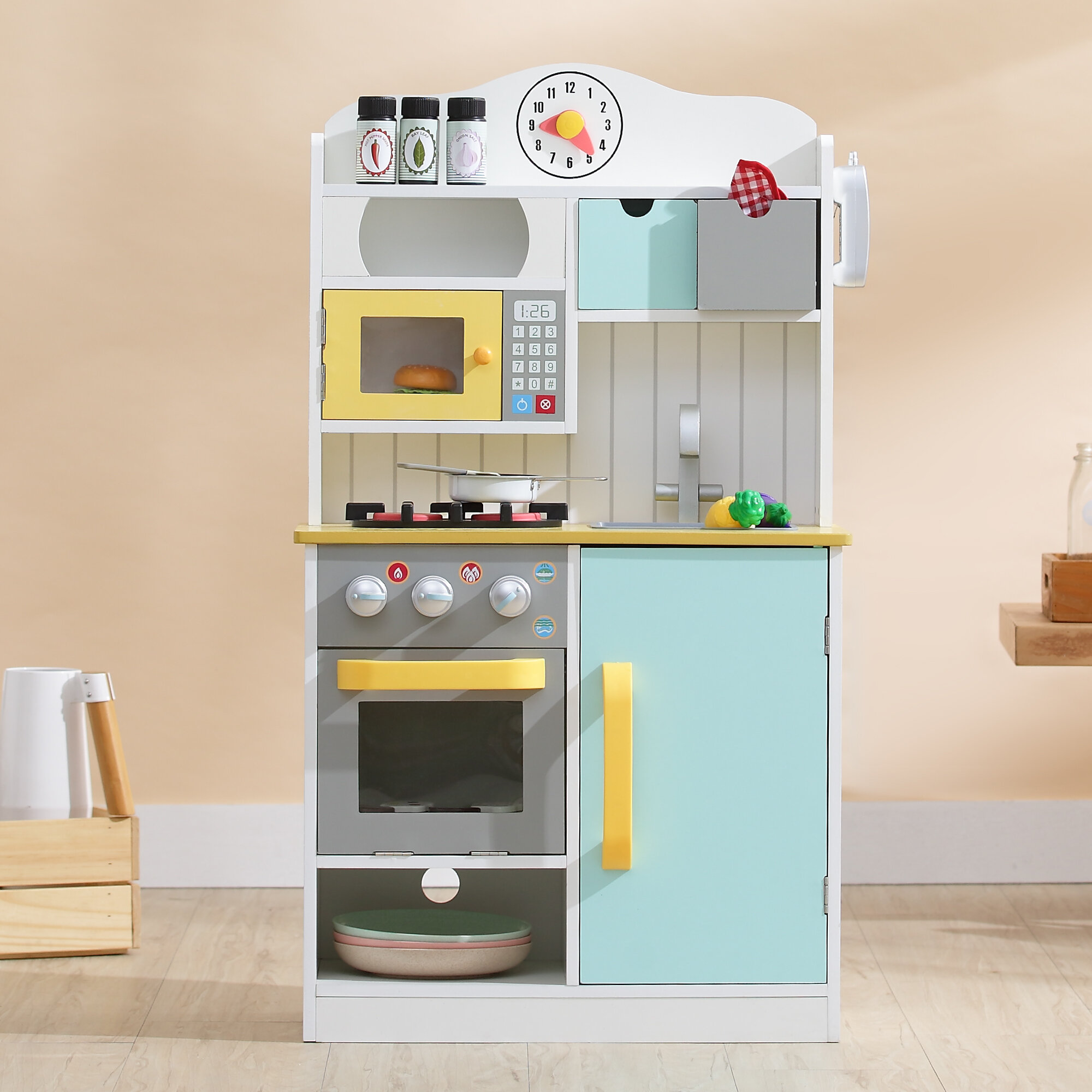 Teamson kids 5 piece little chef wooden play kitchen set reviews wayfair