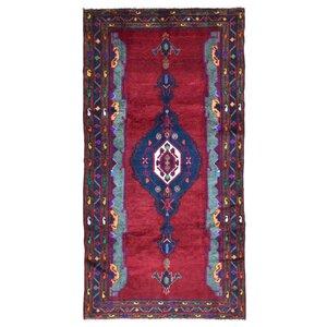 Estrella Hamadan Oriental Hand-Woven Wool Red Area Rug