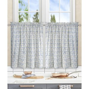 Breckan Ikat Check Tailored Tier Curtain (Set Of 2)