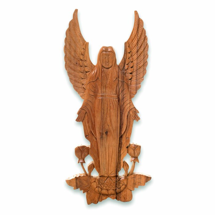 Angelic Blessings Artisan Hand Carved Wood Angel Motif Relief Panel Wall Décor