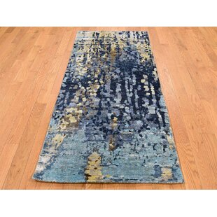 One Of A Kind Cormack Mosaic Oriental Hand Knotted Runner 2 6 X 5 8 Wool Silk Blue Dark Ivory Area Rug