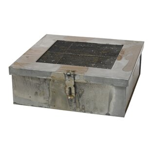 Aged Galvanized Metal Box With Hinged Lid And Compartments