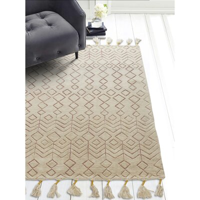 World Menagerie Ilfracombe Hand-Tufted Wool Terracotta Area Rug