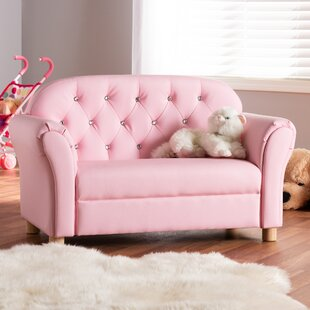 Hebden Kids Faux Leather Loveseat