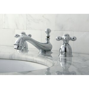 Restoration Double Handle Mini Widespread Bathroom Sink Faucet with Brass Pop-up