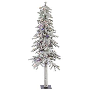 Flocked Alpine 5 White Artificial Christmas Tree With 150 Multi Colored Lights