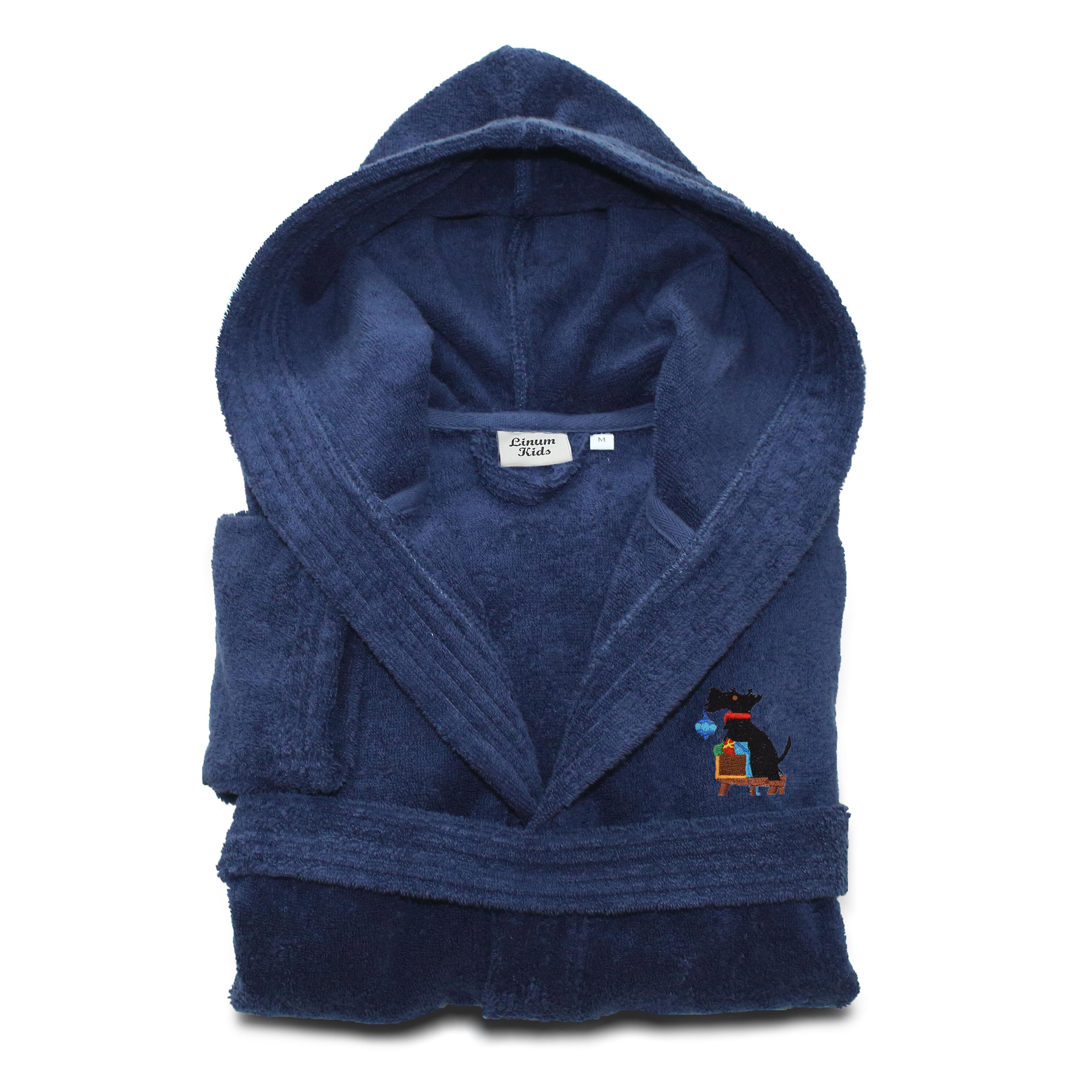78f1741dfd Linum Home Textiles Christmas Dog Embroidered 100% Cotton Terry Cloth  Bathrobe