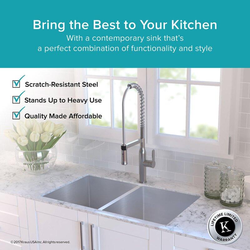 33   x 19   double basin undermount kitchen sink with drain assembly kraus 33   x 19   double basin undermount kitchen sink with drain      rh   wayfair com