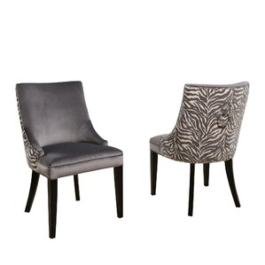 Myrtie Velvet Zebra Upholstered Dining Ch..