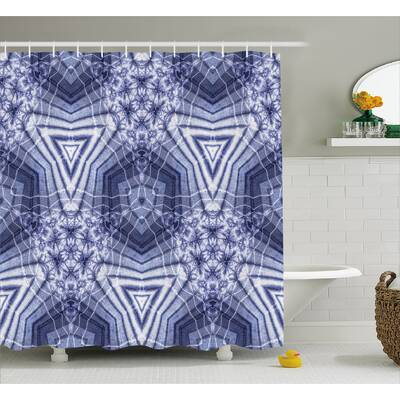Ashley Tie Dye Hallucinatory Surreal Morphing Concentric Geometric Figures With Fractal Patterns Shower Curtain