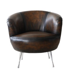 Modena Leather Barrel Chair by Lazzaro Leather