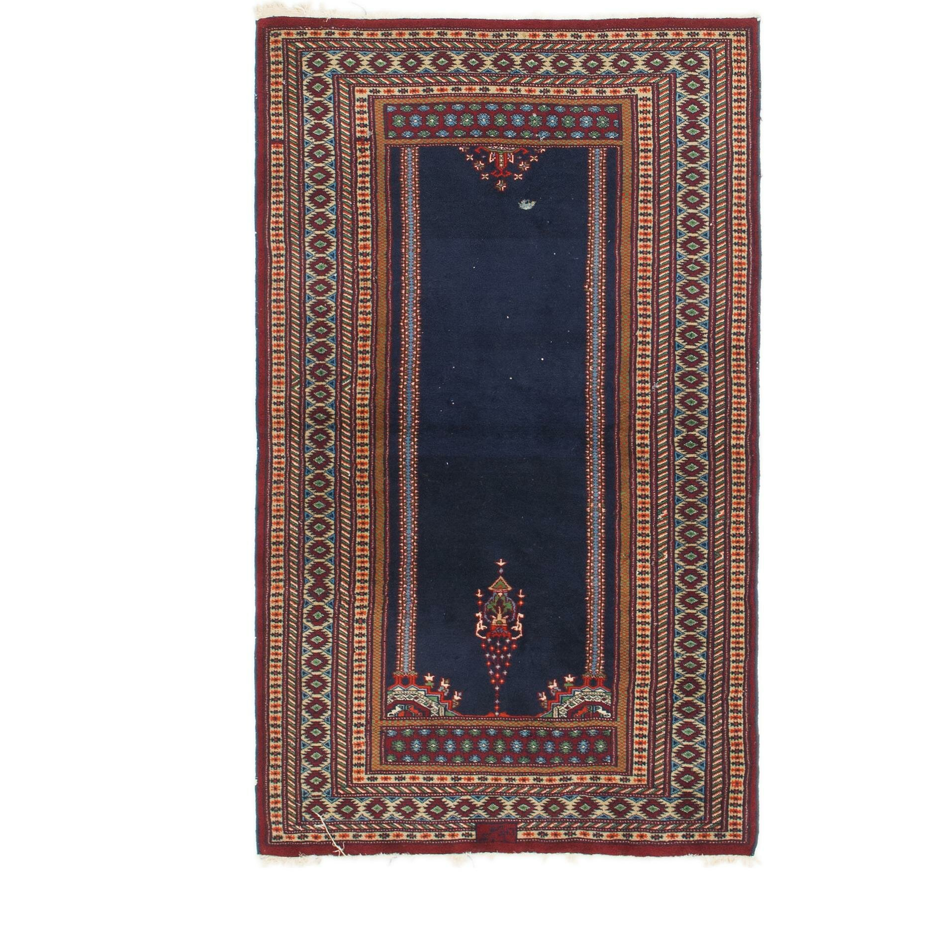 One Of A Kind Dian Hand Knotted 3 X 5 Wool Navy Blue Brown Area Rug